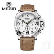 Round Big Dial Silver Casing Faux Leather Men Watch | Watches for sale in Greater Accra, Abelemkpe