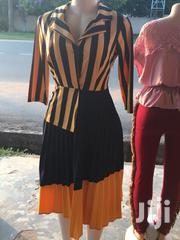 Striped Pleat Dress- Yellow N Dark Blue | Clothing for sale in Greater Accra, Dansoman
