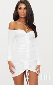 White Roached Off Shoulder Bodycon Dress | Clothing for sale in Greater Accra, East Legon