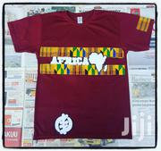 Wine T Shirt With Kente | Clothing for sale in Greater Accra, Osu