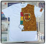 New Design White T Shirt With African Fabric | Clothing Accessories for sale in Greater Accra, Osu