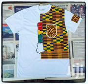 White Designer T Shirt With Kente | Clothing for sale in Greater Accra, Osu