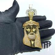 18k Gold Finish Jesus Piece Heavy 3D Pendant Iced Out | Jewelry for sale in Greater Accra, Dansoman