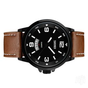 Leather Skmei Analogue Quartz Watch With Date