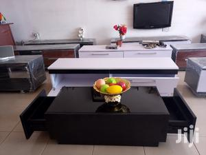 Black Wooden Center Table With Glass On Top From KSA Furniture