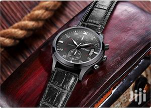 Chronograph Leather All Black Men Business Watch