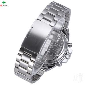North Silver Stainless Steel Chain Analog Digital Watch