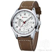 Curren 8152 PU Leather Military Number White Men Wrist Watch | Watches for sale in Greater Accra, Nii Boi Town