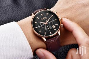 NORTH Brown Leather Mens Watch Fashion Chronograph