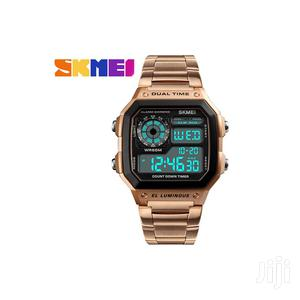 Rose Gold Skmei Digital Stainless Steel Chain Strap Watch