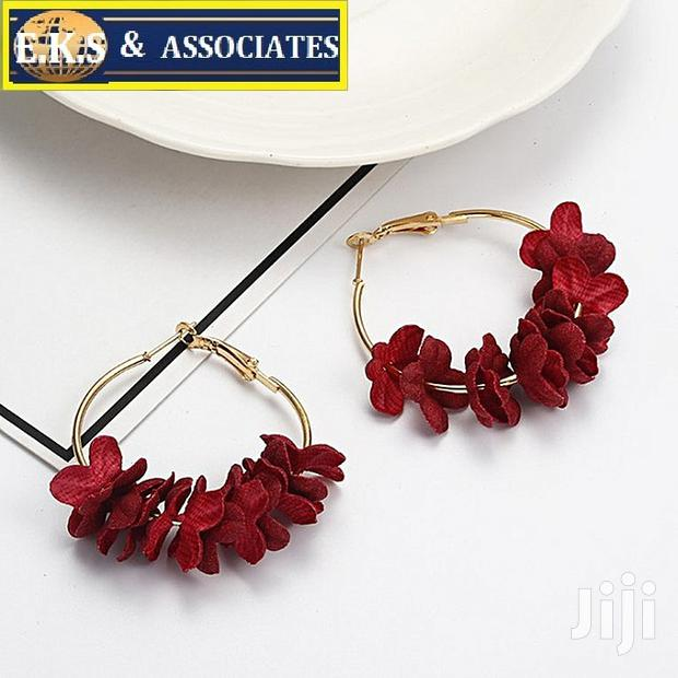 Archive: Red Sleek Minimalist Fabric Flower Earrings