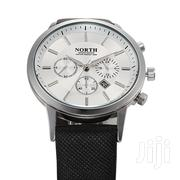 Silver & Black PU Leather Strap Men Wrist Watch | Watches for sale in Greater Accra, Akweteyman