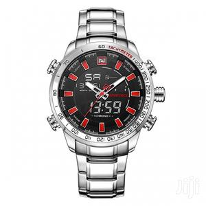 Red Dial Color With Silver Stainless Steel Chain Strap Watch