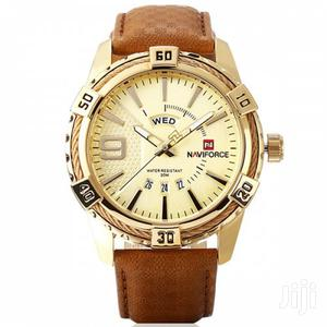 Naviforce 9117 Men Waterproof Sports Leather Watch GOLD&BROWN