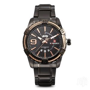Rose Gold & Black Full Steel Analog Calendar Display Watch