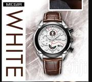 Megir 2065 Chronograph Genuine Leather Strap Watch | Watches for sale in Greater Accra, Akweteyman
