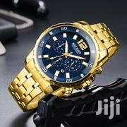 Blue & Gold Casual Stainless Steel Chain Strap Watch | Watches for sale in Greater Accra, Akweteyman