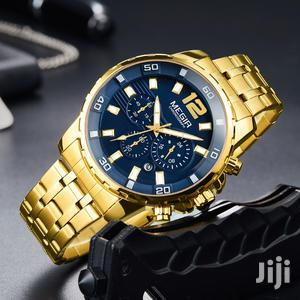 Blue & Gold Casual Stainless Steel Chain Strap Watch