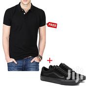 Low-Top Lace Up Sneakers - Black + Free Polo Shirt | Shoes for sale in Greater Accra, Ga West Municipal