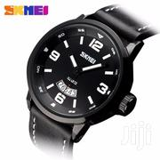 All Black SKMEI 9115 Waterproof Big Date Display Leather Watch | Watches for sale in Greater Accra, Akweteyman