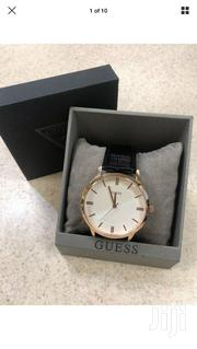 GUESS U0664G4 Men's Dressy Black Leather Rose Gold-Tone Watch | Watches for sale in Greater Accra, Ga South Municipal
