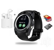 V8 Smart Watch + I7s-tws Twin Bluetooth Wireless Airpods | Smart Watches & Trackers for sale in Greater Accra, Tema Metropolitan