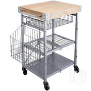 Industrial Kitchen Folding Kitchen Trolley With Mango Wood | Furniture for sale in Greater Accra, Adenta Municipal