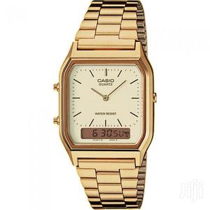 Casio Stainless Steel Digital Analog Watch- Gold/Cream