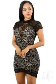Black Sweet V-lace Short Sleeve Bodycon Dress | Clothing for sale in Greater Accra, Accra Metropolitan