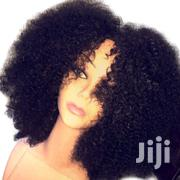 "Human Hair Afro Curly Wig- 10""- Black 