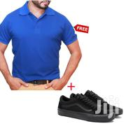 Low Top Lace-Up Sneakers - Black + Free Polo Shirt | Clothing for sale in Greater Accra, Ashaiman Municipal