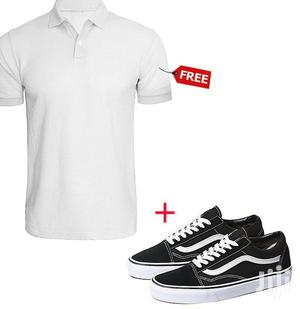 Low Top Lace-Up Sneakers - Black/White + Free Polo Shirt
