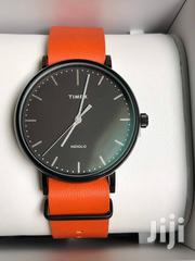 Timex Weekender Fairfield Black Dial Orange Leather Band Analog Watch | Watches for sale in Greater Accra, East Legon (Okponglo)