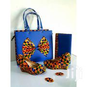 Set of Kente Print Handbag and Flat Shoes- Blue/Multicolour | Bags for sale in Greater Accra, Achimota
