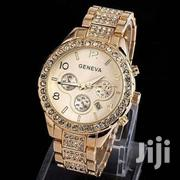 Geneva Women Fashion Luxury Crystal Quartz Watch Gold | Watches for sale in Greater Accra, East Legon