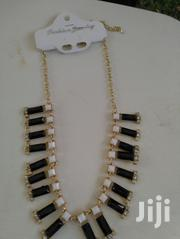 Elegant Black And White Designed Necklace With Gold Chain | Jewelry for sale in Greater Accra, Dansoman