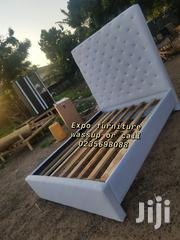 Fantastic White Double Leather Bed 🛏 🛏 | Furniture for sale in Greater Accra, East Legon (Okponglo)