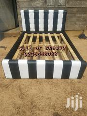Design Black 🖤 and White Leather Bed 🛏 🛏 | Furniture for sale in Greater Accra, Achimota