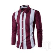 Men's Wine Red-White Stripes Shirt | Clothing for sale in Greater Accra, Odorkor