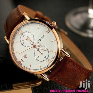 Yazole 355 Leather Watch for Men