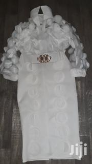 White Floral Knee Lengh Dress With White Belt Designed With Gold | Clothing for sale in Greater Accra, Adenta Municipal