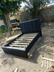 Black Leather Double Bed | Furniture for sale in Greater Accra, Kotobabi