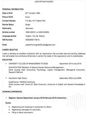 Administrative Assistant   Clerical & Administrative CVs for sale in Greater Accra, Adenta Municipal