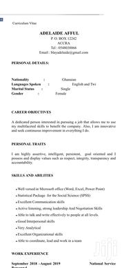 Clerical & Administrative CV | Clerical & Administrative CVs for sale in Greater Accra, Accra Metropolitan