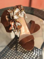 Classic Brown Block Heels With Silk Designer Wrap. | Shoes for sale in Greater Accra, Tema Metropolitan