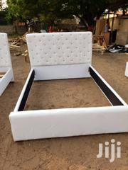 White Double Leather Bed | Furniture for sale in Greater Accra, Alajo