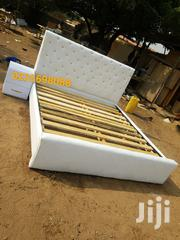 White Queen Size Leather Bed With Side Drow 💖 🖤💖💯👌👍 | Furniture for sale in Greater Accra, East Legon
