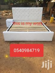 Queen Size Bed White Leather Is Available for Sale | Furniture for sale in Greater Accra, Accra new Town