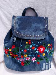 Blue Denim Embroidered Backpack | Bags for sale in Greater Accra, Achimota