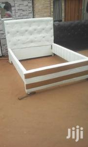 White Leather Bed And Gold For Sell At A Coooool Price. | Furniture for sale in Greater Accra, North Ridge